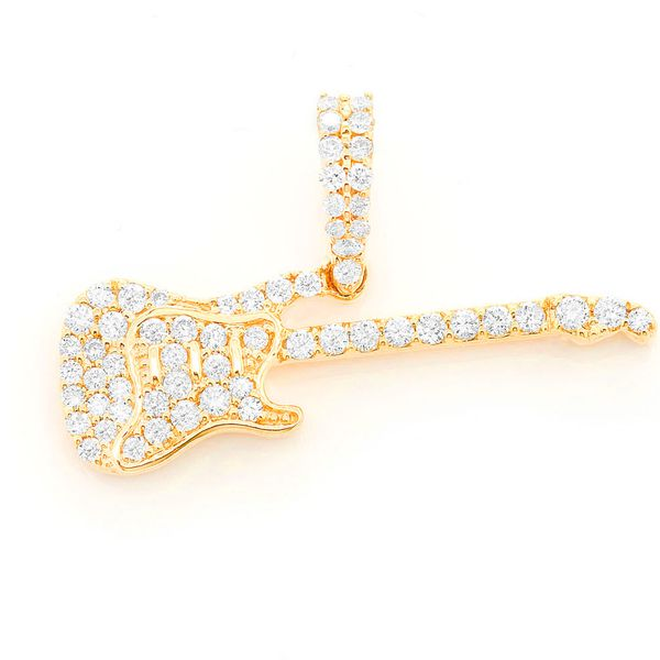 Electric Guitar Pendant 14K   0.34ctw