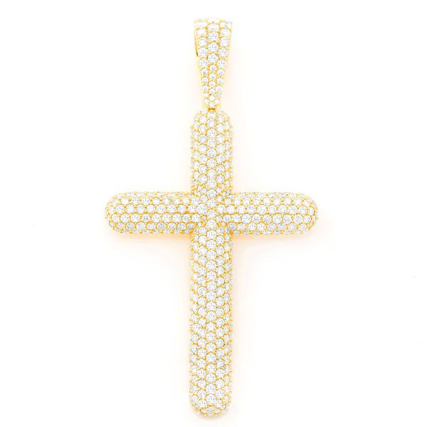 Bubbly 3 Row Cross Pendant 14K   8.56ctw