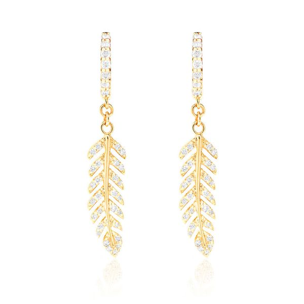 Feather Huggie Earrings 14K   0.36ctw