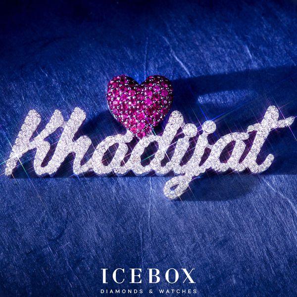 Custom Script With Heart Bail Ladies Diamond Pendant 10K