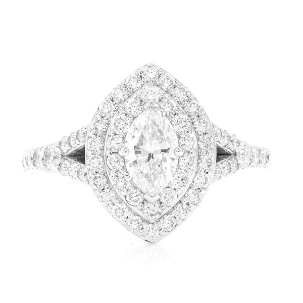 Marquise Nina Double Halo Engagement Ring 14K   1.61ctw