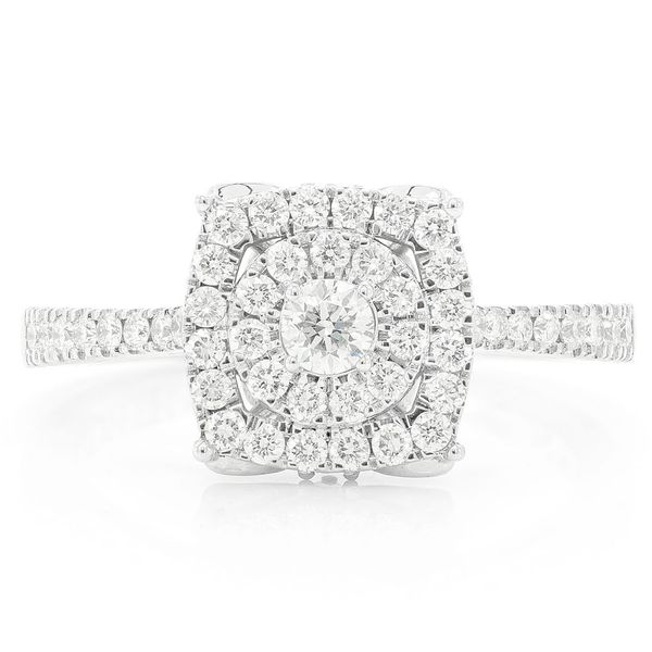 Square And Round Engagement Ring 14K   0.61ctw