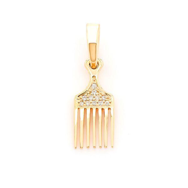 Hair Pick Comb Pendant 14K  0.04ctw