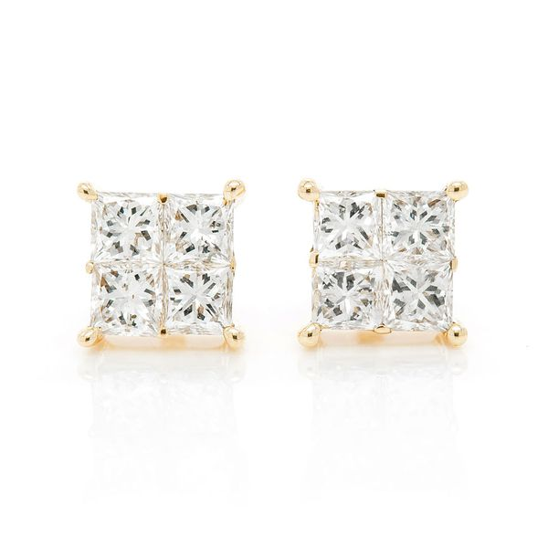 Princess Cut Quad Earrings 14K   0.50ctw