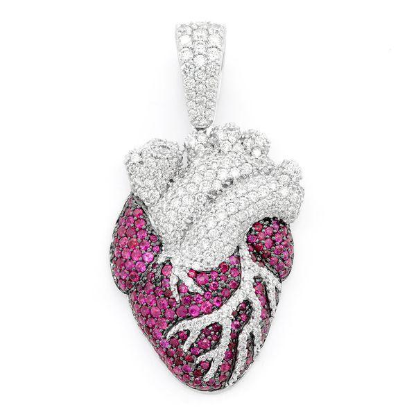 Human Heart Pendant 14K   3.60ctw