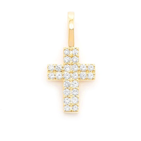 Two Row Charm Cross Pendant 14K   0.25ctw