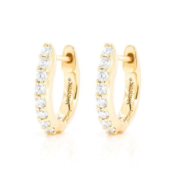 Huggie Hoop Half Diamond Earrings 14K   0.15ctw