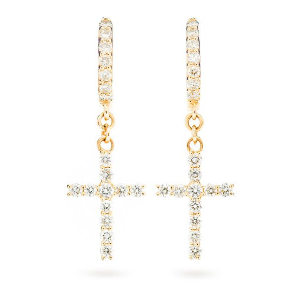 Cross Huggie Hoop Earrings 14K   0.44ctw
