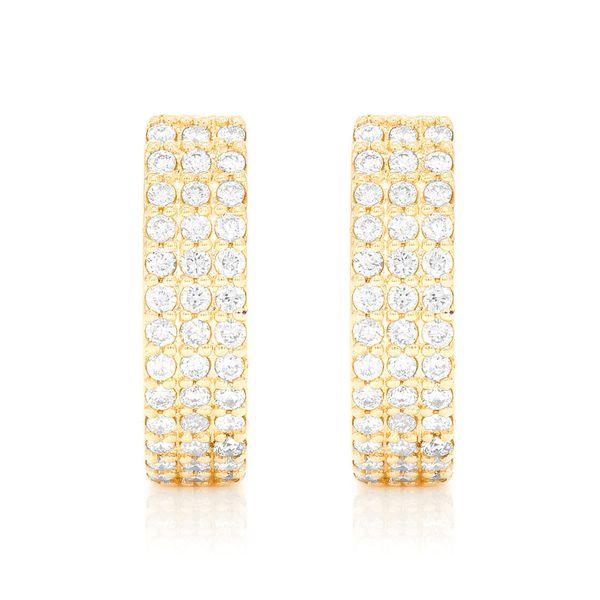 3 Row Huggie Hoop Small Earrings 14K   0.38ctw