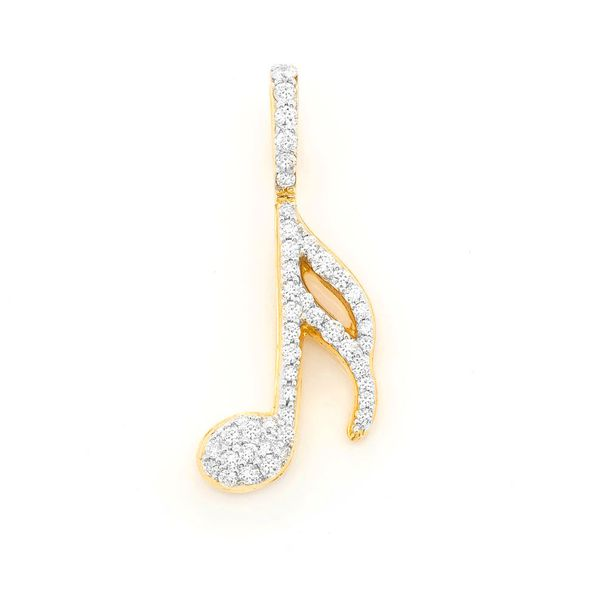 Musical Note Pendant 14K   0.50ctw