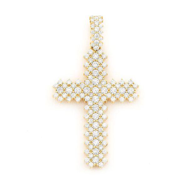 Jagged Cross Pendant 14K   5.58ctw