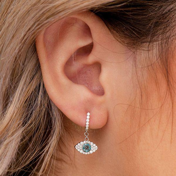 Rhodium Plated Hoop Huggie Dangle Evil Eye Good Luck Lucky Lady Women Earrings
