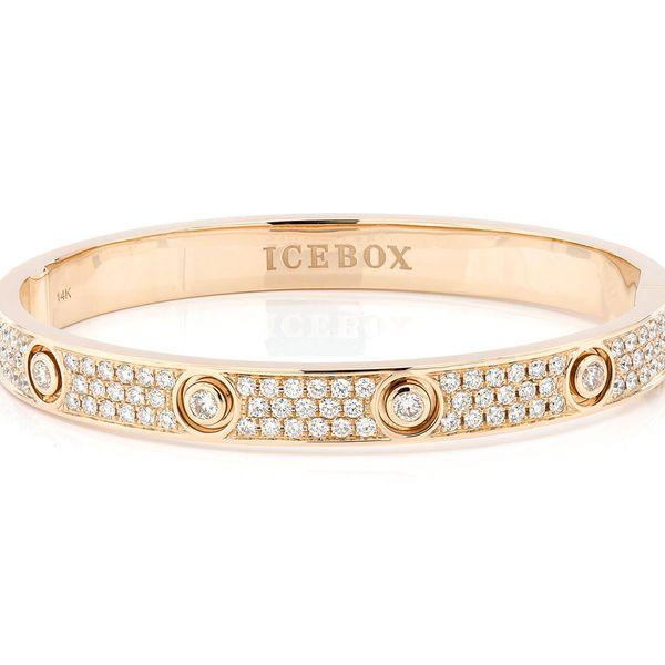 Medium Signature Bangle Half Diamond Bracelet 14K   2.75ctw
