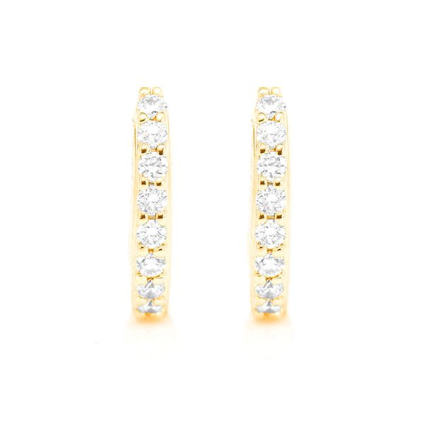 Huggie Hoop Half Diamond Earrings 14K   0.15ctw