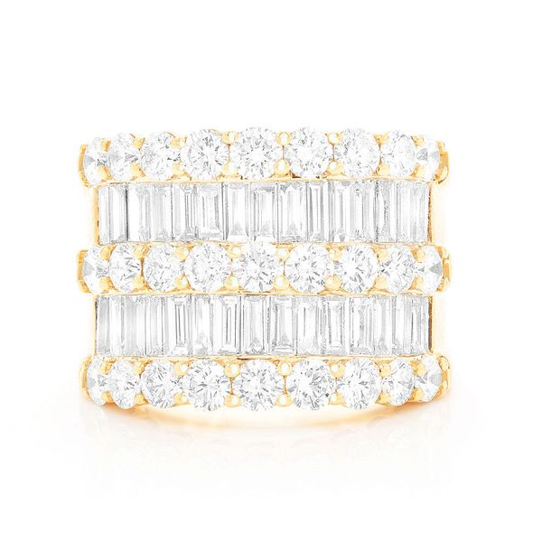 3 Row Diamond Baguette Ring 14K   5.50ctw