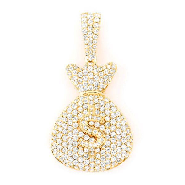 Money Bag Pendant 14K   3.35ctw