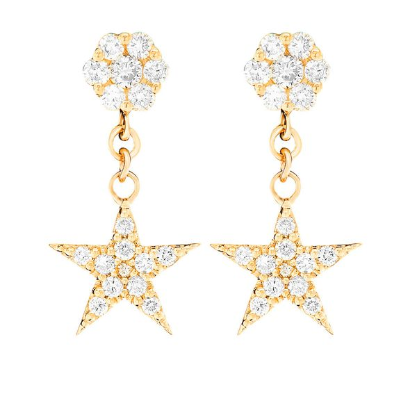 Star Dangling Cluster Earrings 14K   0.40ctw