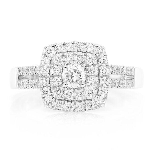 Princess Double Halo W/ Split Shank Ring 14K   0.74ctw