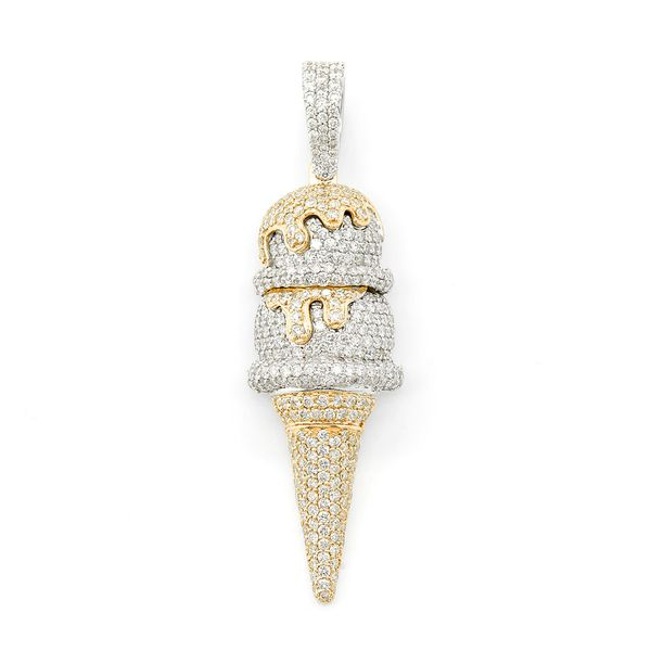 Double Scoop Ice Cream Pendant 14K   3.27ctw