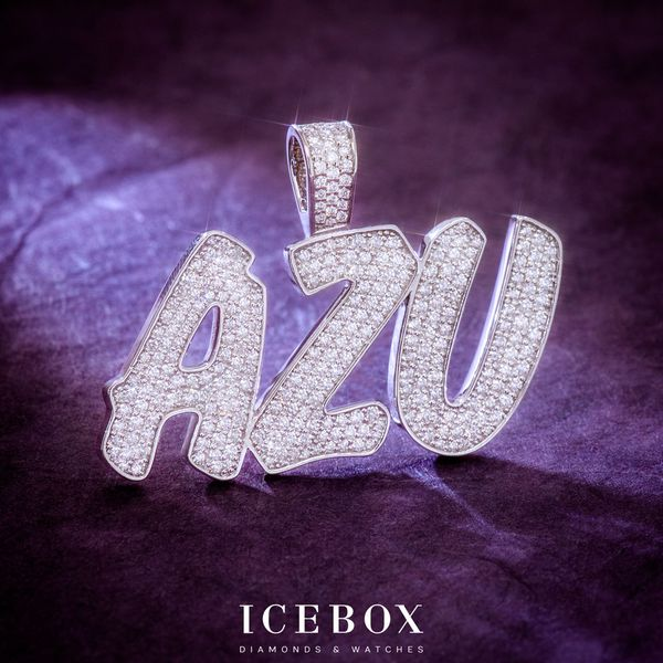 Custom Icebox AZU Border Pendant 14K