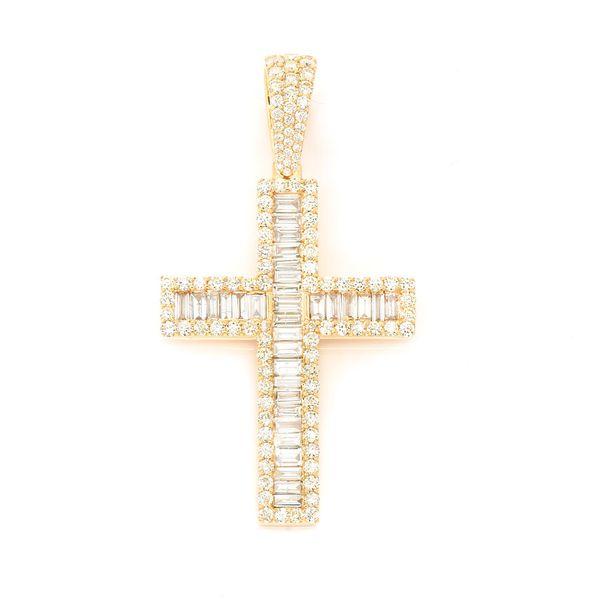 Baguette Cross  Pendant 14K   4.05ctw