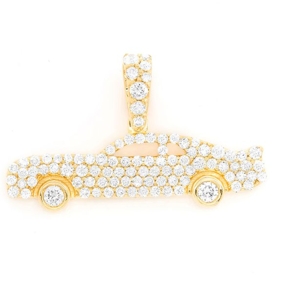 Muscle Car Bezel Wheels Pendant 14K   0.60ctw