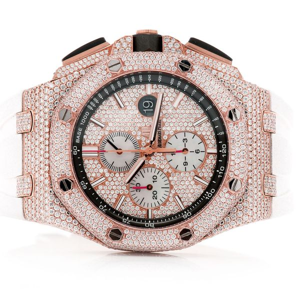 Pre-owned Audemars Piguet White Band 44mm St.Steel  ICED OUT