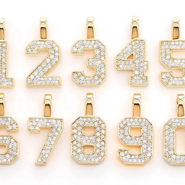Jersey Number Pendant 14K   0.35ctw