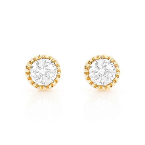 Joy Milgrain Round Bezel Stud Earrings 14K   0.07ctw