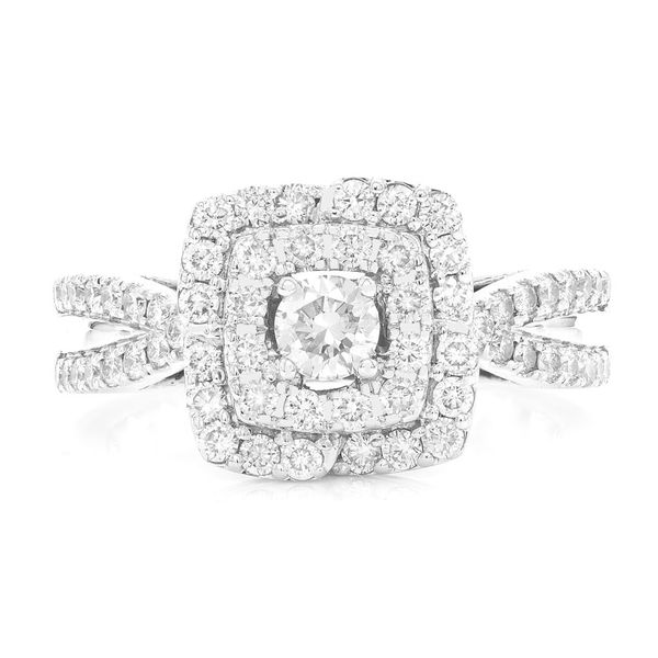 Double Band Three Layer Unique Ring 14K   0.99ctw
