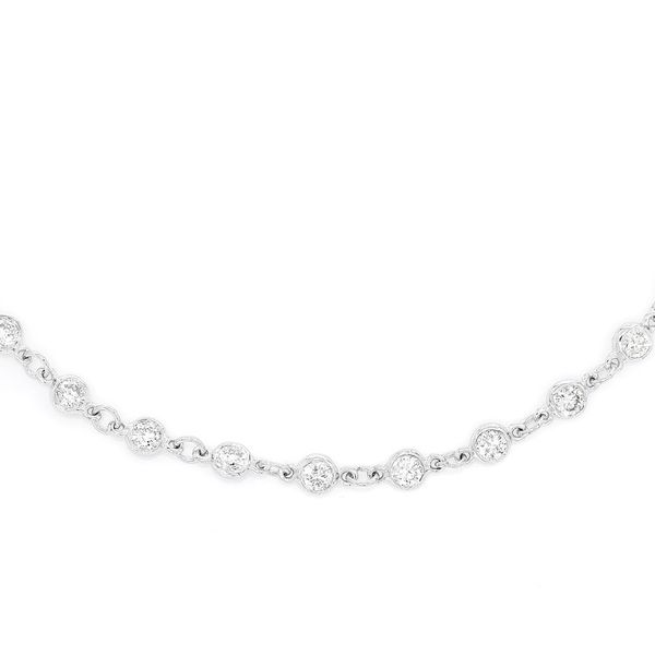 Eternity Round Bezel Set Necklace 14K   3.75ctw