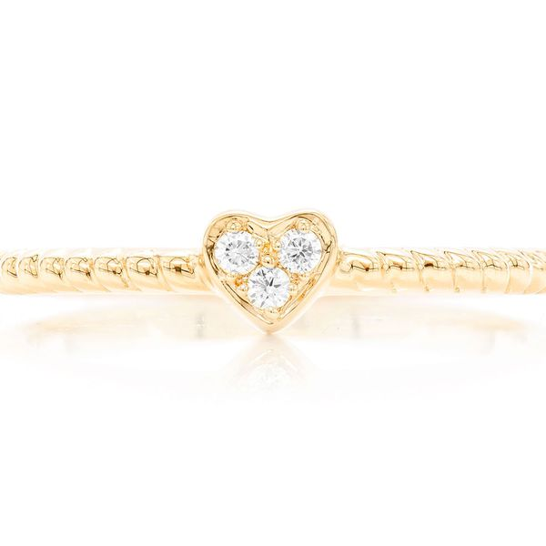 Heart Rope 3 Stone Betty Collection  Ring 14k   0.04ctw