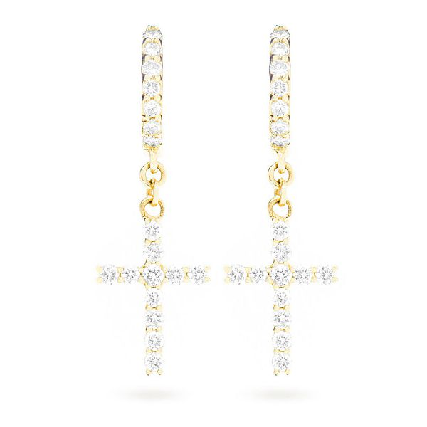 Small Seneca Cross Huggie Hoop Earrings 14K   0.44ctw
