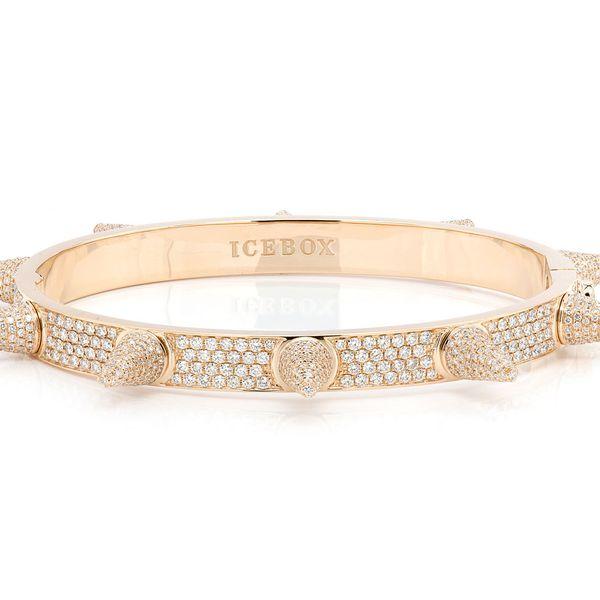 Large Spike Bangle Bracelet 14K   7.58ctw