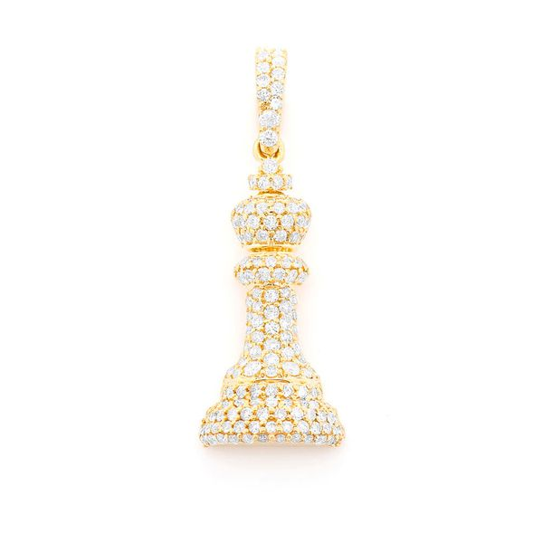 King Chess Piece Pendant 14K   0.66ctw