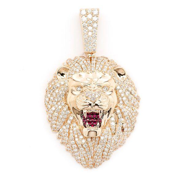 AAA Roaring Lion's Head Pendant 14K   3.20ctw