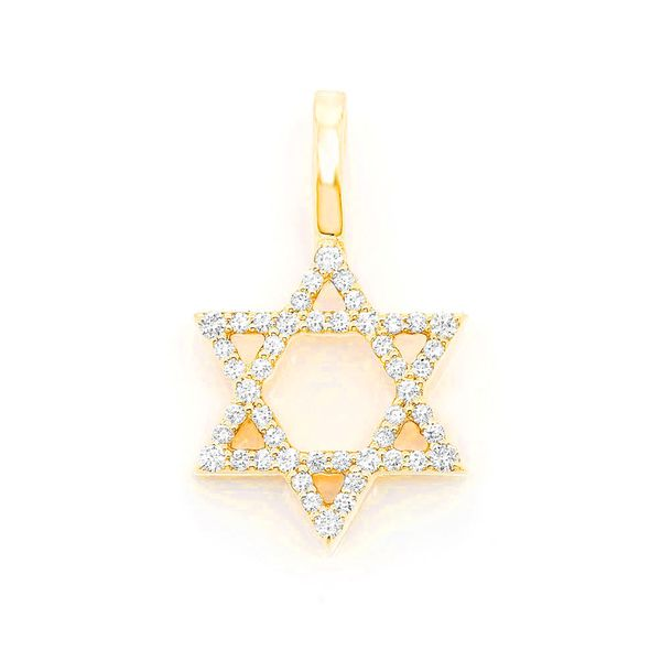 Star Of David Pendant 14K   0.28ctw