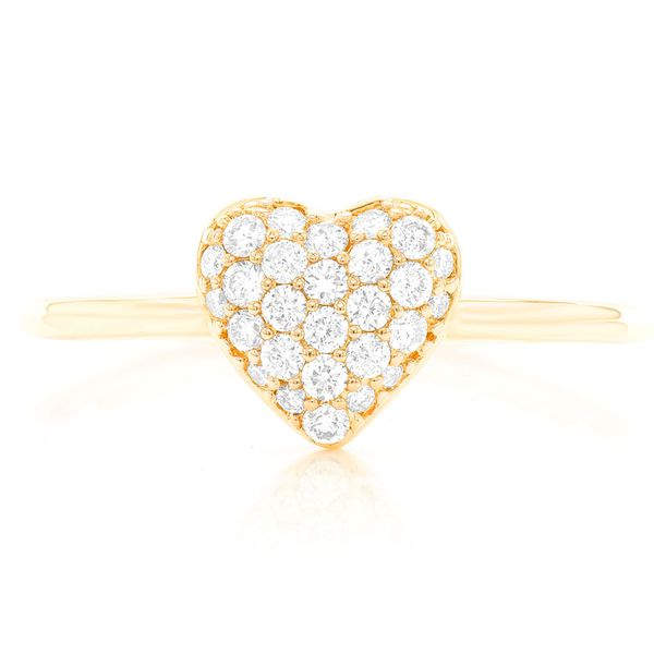 Pave Heart Ring 14k   0.22ctw