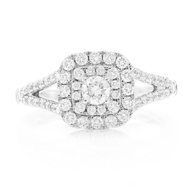 Cushion Double Halo Ring 14K   0.76ctw