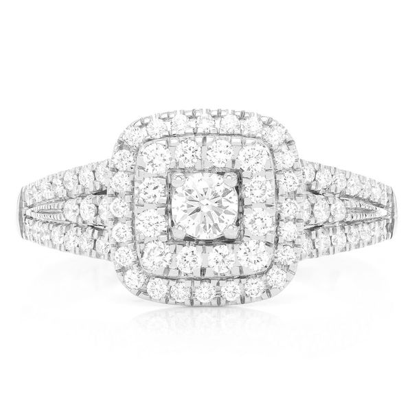 Cushion Two Tier Halo Ring 14K   0.75ctw