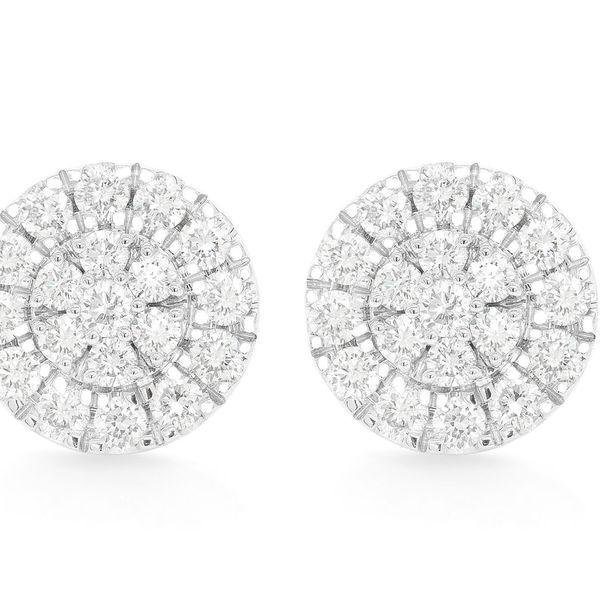 Round Cluster Earrings 14K   1.06ctw