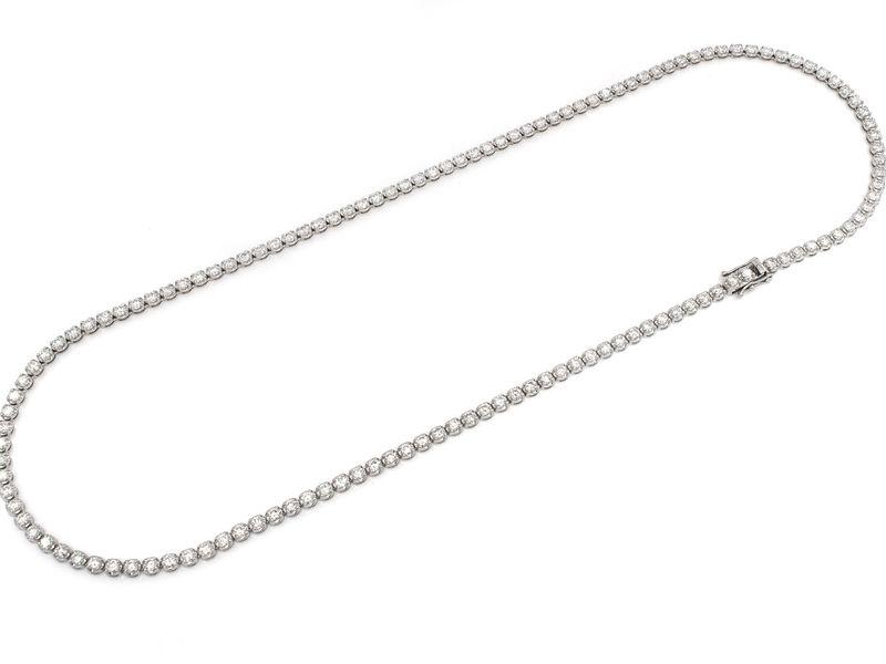 10pt Tennis Necklace 14K   14.28ctw