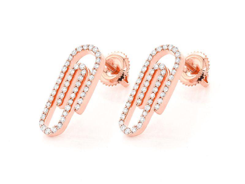 Paper Clip Earrings 14K   0.46ctw