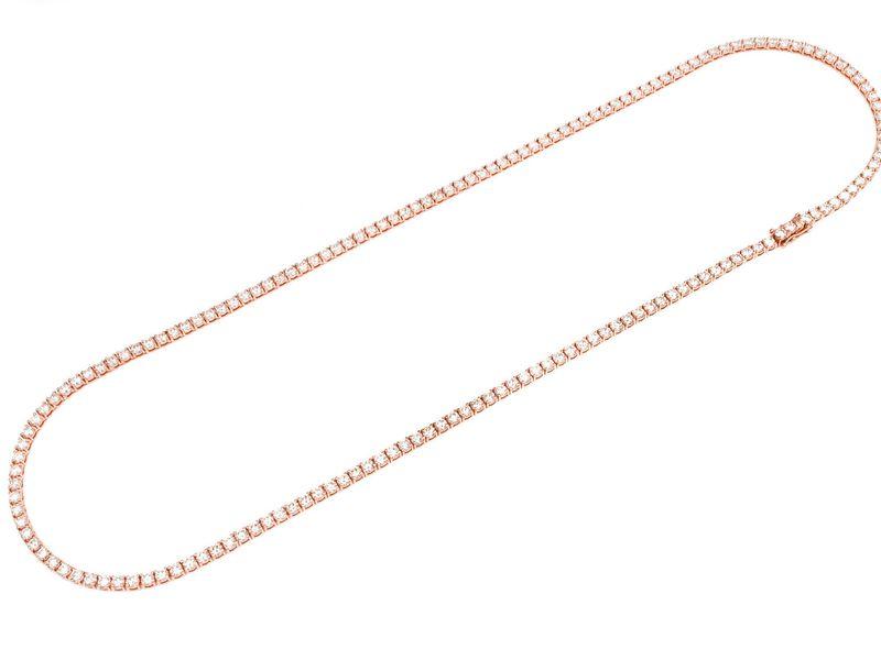 15pt Tennis Necklace 14K   23.98ctw