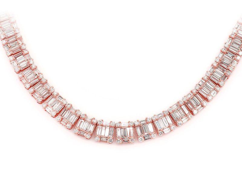 Diamond Eternity Necklace 14K   31.50ctw