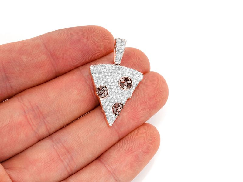 Pizza Slice Pendant 14K   1.70ctw