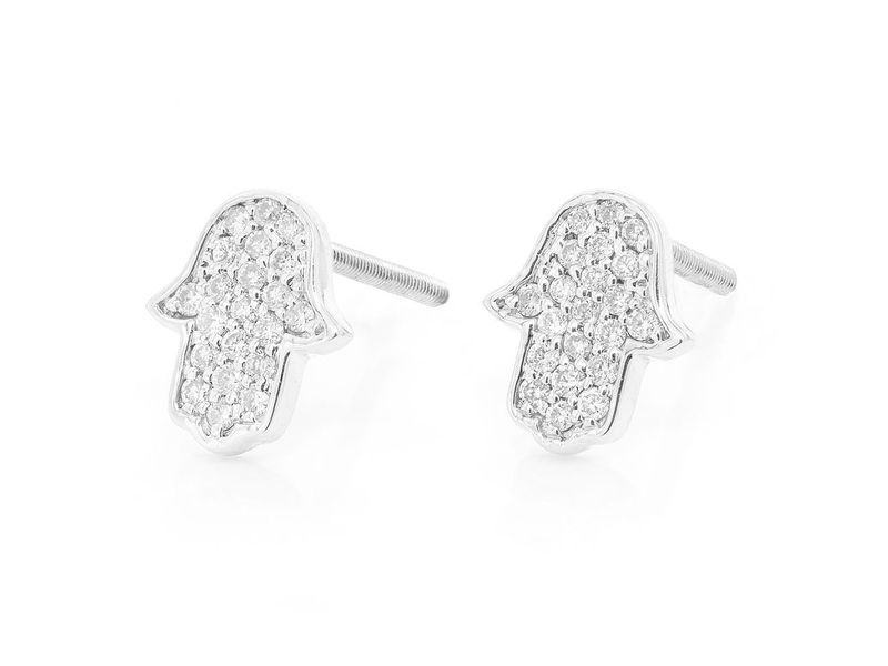 Hamsa Earrings 14K   0.18ctw
