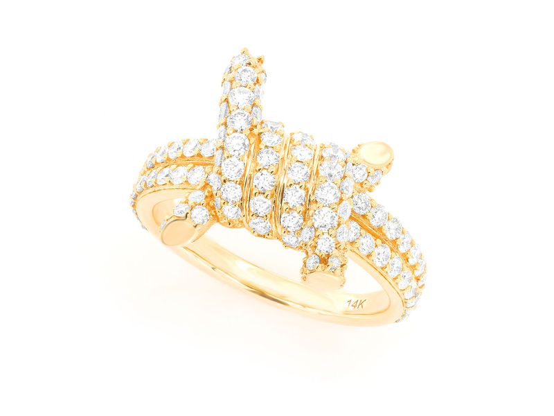 Barbed Wire Ring 14K   1.70ctw