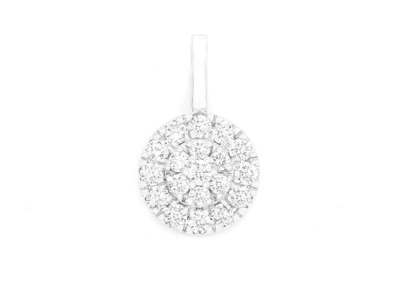 Two Tier Round Diamond Pendant 14K   1.06ctw