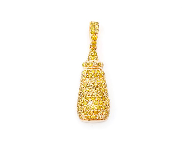 Yellow Mustard Bottle Pendant 14K   0.90ctw